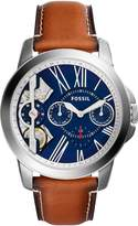 Fossil Men's 44mm Brown Leather Band Steel Case Quartz Blue Dial Chronograph Watch ME1161