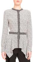 Altuzarra Long-Sleeve Crepe de Chine Peplum Blouse, Black/White