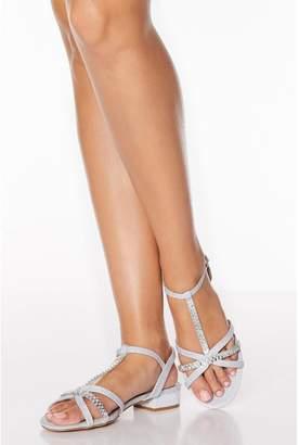 Quiz Silver Diamante T Bar Block Heel