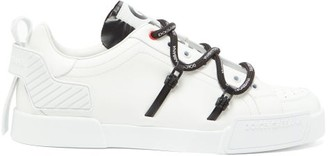 Dolce & Gabbana Logo-print Rubberised-leather Trainers - Mens - White Black