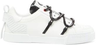 Dolce & Gabbana Logo-print Rubberised-leather Trainers - White Black