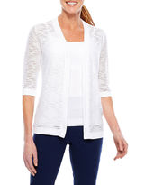 Sag Harbor Pleats And Lace Elbow Sleeve Cardigan