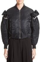Noir Kei Ninomiya Women's Imitation Pearl Embellished Bomber Jacket