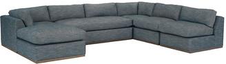One Kings Lane Pratt 5-Pc Sectional - Indigo Crypton - frame, natural; upholstery, indigo