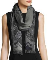 Sabira Desiree Paisley Wool Stole, Black/Gray