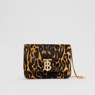 Burberry Small Leopard Print Calf Hair TB Bag