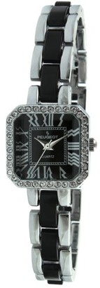 Peugeot 7072BK Crystal Accented Square Silver-Tone Black Acrylic Link Watch