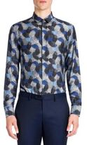 Emporio Armani Woven Thumb Print Silk Blend Shirt