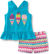 Kids Headquarters Blue Ice Cream Tank & Zigzag Shorts - Toddler & Girls