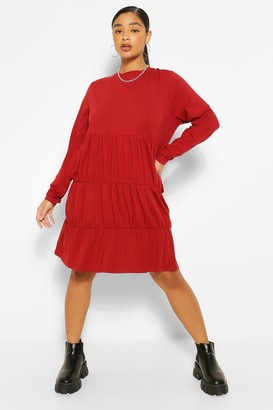 boohoo Plus Tiered Jersey Smock Dress
