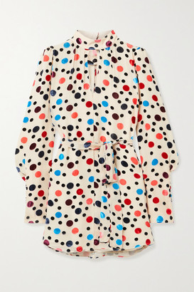 Saloni Tania Polka-dot Flocked Chiffon Mini Dress - Beige