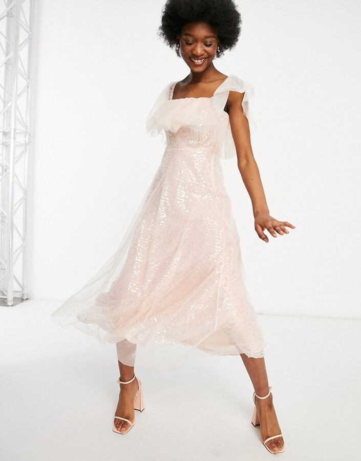 Thumbnail for your product : Forever U organza bardot midi dress in pink sequin