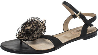 Valentino Black Leather And Beige Organza Rose Embellished Ankle Strap Flat Sandals Size 40.5