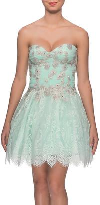 La Femme Women's Special Occasion Dresses Aqua - Aqua Floral Lace & Rhinestone Sweetheart Fit & Flare Dress - Women