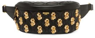 Moschino Dollar Sign Embellished Leather Belt Bag