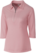 Cutter & Buck Pink Blaine Oxford Zip-Front Polo