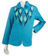 Bob Mackie Bob Mackie's Embroidered Ikat Zip Front Jacket