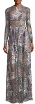 Alexis Jeslyn Long-Sleeve Floral Illusion Maxi Dress