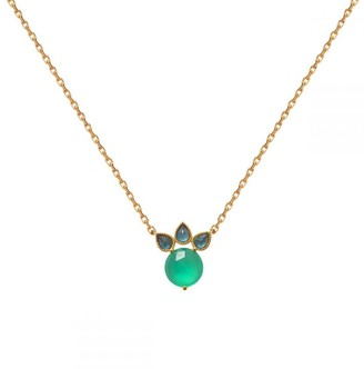 Perle de Lune Princess Necklace - Blue Topaz, Green Agate & 18K Gold