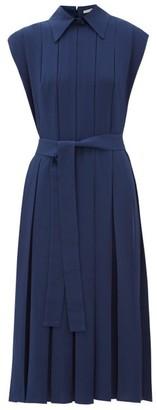 Emilia Wickstead Evanthe Pleated Crepe Midi Dress - Womens - Navy