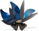 Marni Silver-tone, Horn, Leather And Crystal Brooch - Blue