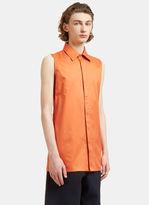 Acne Studios Men's Dalby Long Sleeveless Bi-colour Shirt In Orange And White
