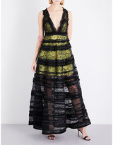Givenchy Tiered sleeveless lace gown