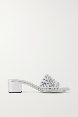 Giuseppe Zanotti Crystal-embellished Pvc And Metallic Leather Mules - Silver