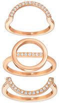 Swarovski Crystal & Rose Gold Rings- Set of 3