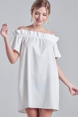 R+D Off Shoulder Shirring Dress