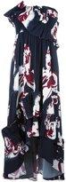 Cédric Charlier ruffled panel strapless dress - women - Rayon - 38
