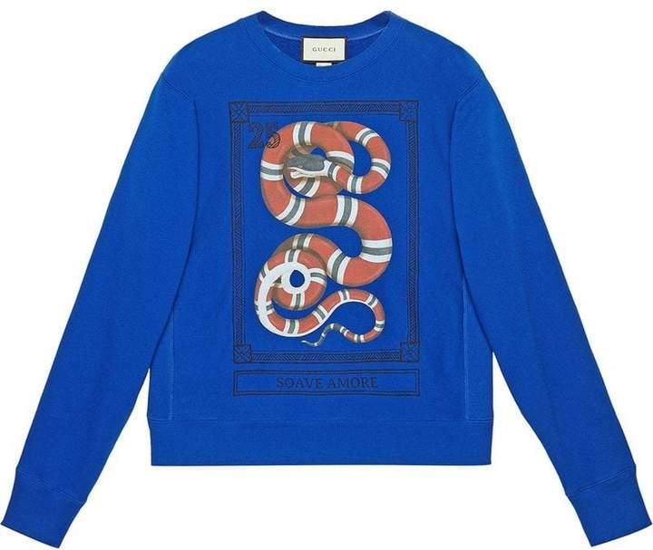 Gucci Cotton sweatshirt with Kingsnake print