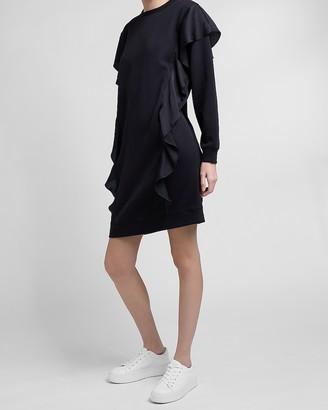 Express Oversized Ruffle Front Sweatshirt Dress