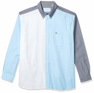 Lacoste Men's Relaxed Fit Long Sleeve Color Block Woven Shirt