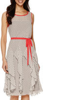 Robbie Bee Sleeveless Stripe Fit-and-Flare Dress