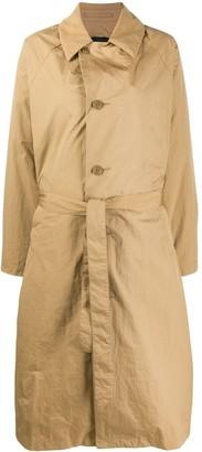Zucca Tartan Print Panelled Trench Coat