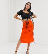 Vero Moda Tall neon gathered side bias cut midi skirt