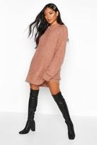 boohoo Oversized Premium Boucle Feather Knit Dress