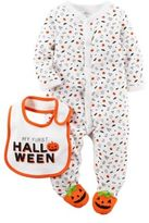 """Carter's Size 9M """"My First Halloween"""" Bib and Snap-Front Footie Set"""