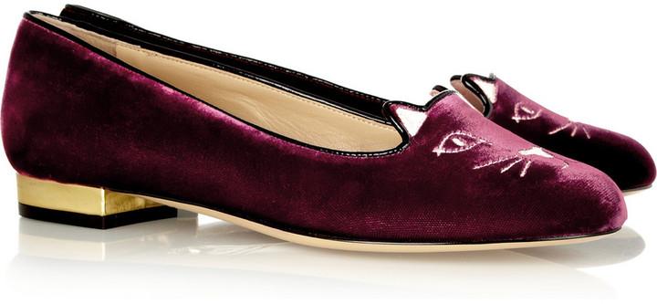 Charlotte Olympia Kitty embroidered velvet slippers