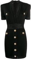 Balmain short gold-tone buttons knit dress