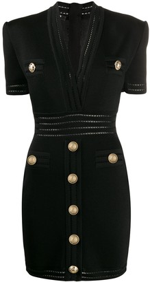 Balmain Short Gold-Tone Buttons Knit Dress