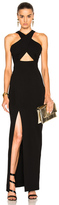 Nicholas Event Cross Over Poly-Blend Dress in Black.