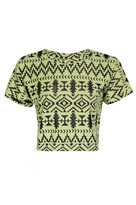 Select Fashion Fashion Womens Yellow Aztec Burnout Crop Sweat - size 10
