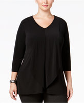 Alfani Plus Size Drape-Front Top, Only at Macy's