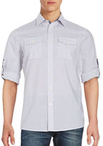 Michael Kors Windowpane Print Cotton Sportshirt