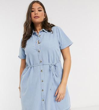 ASOS DESIGN Curve soft denim smock shirt dress in midwash blue