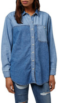 Topshop &Elton& Colorblock Denim Shirt