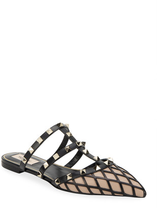 Valentino Beehive Rockstud Flat Leather Mules with Woven Detail