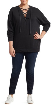 Slink Jeans, Plus Size Lace-Up Cotton Hoodie